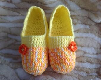 Cheeky Yellow, Merigold & Tangerine Women's Crochet Slippers