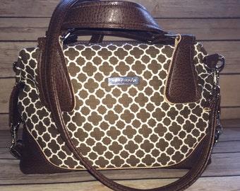 Handmade designer stylish brown bag with handles and detachable shoulder strap