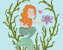 Mermaid and Friend Cross Stitch Pattern