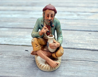 Vintage Artsy Man Seated Barefoot with Pipe, Pot, and Muddle Figurine