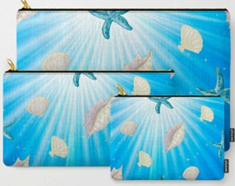 Under the Sea Shells-Carry All Zipper Pouch -Set of 3
