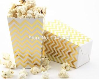 Gold Chevron Pop Corn Boxes
