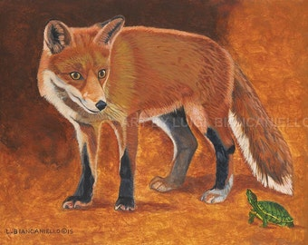 Wall Art  Red Fox and Painted Turtle-  wildlife fine art print
