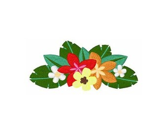 Hawaiian Flowers - Machine Embroidery Design