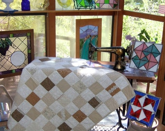 Natural Colors Lap with Lace Accents/Handmade Lap Quilt/Affordable Quilt/Lace Accents Quilt/Creams and Tan Throw Quilt/Wheelchair Quilt