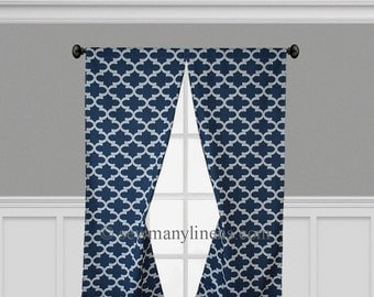 Navy Blue Curtains Quatrefoil Lattice Trellis Panels Window Treatments Nautical Navy Geometric Curtains Custom Drapes