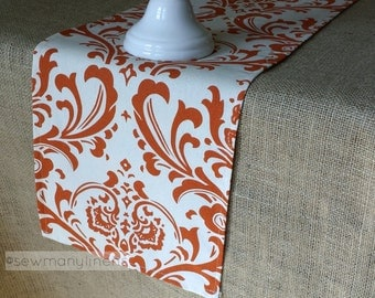 Exceptional Burnt Orange Table Runner Floral Damask Linens Table Centerpiece Dining  Kitchen Home Decor Thanksgiving Autumn Decor