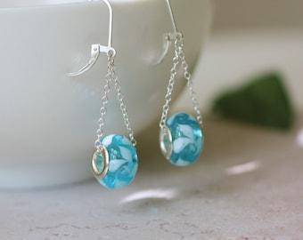 aqua earrings, bead earrings, drop bead earrings, aqua and silver earrings, dangle earrings, aqua dangle earrings