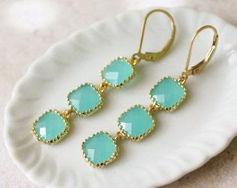 glass earrings, aqua earrings, mint glass earrings, blue glass earrings, glass dangle earrings, milk glass earrings, mint and gold earrings