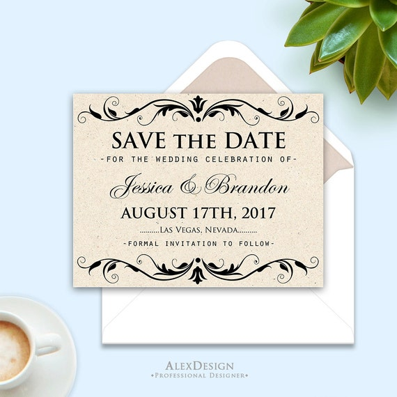 Printable save the date card pattern wedding save the date for Printable save the date cards