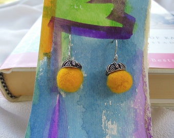 Hand-Felted earrings- small, yellow