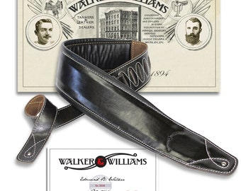 "Walker & Williams B4B-BLK Super Wide 4"" Black Leather Double Padded Bass or Guitar Strap"