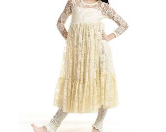 Lace tutu dress, Cream flower girl dress, cream lace dress, Shabby chic dress for kids, flower girl dress
