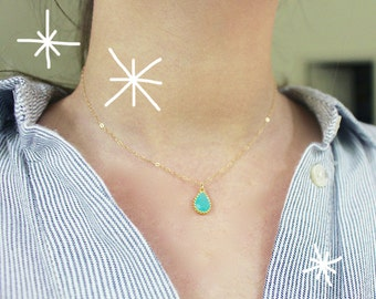 Turquoise/Mint Teardrop-Minimal-Gold Filled Delicate Necklace