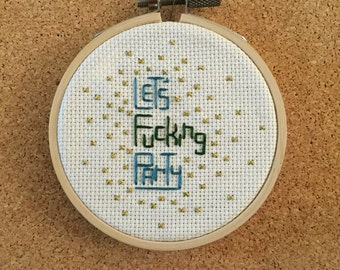 Lets Party Cross Stitch in frame - 3''