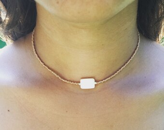Choker with white pearl center- many colors available