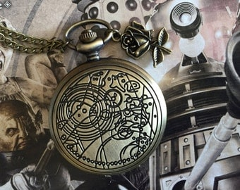 The Doctor and Rose Watch Necklace, doctor who, bronze, Gallifrey, whovian, UNOFFICIAL, fan made, fandom, fangirl, ten