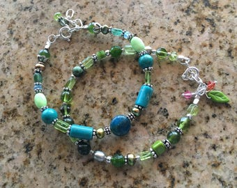 Teal Turtle Bracelet: Teal and Green Gemstones with Sterling Silver
