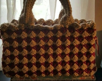Crochet hand bag, Beige and Red look like designer bag