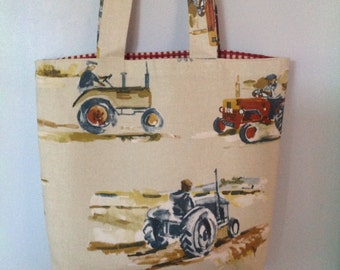 Tractor Tote Bag, Shopping Bag, Beach Bag with Red Gingham Check Lining