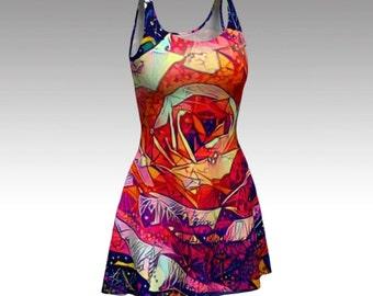 Pink Dress, Flower Dress, Pink Flower, Floral Dress, Rose Dress, Abstract Dress, Flare Dress, Fitted Dress, Skater Dress, Bodycon Dress