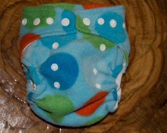 Fun Dots Fleece Cloth Diaper or Cover with Waterproof Snap in Pouch/Liner