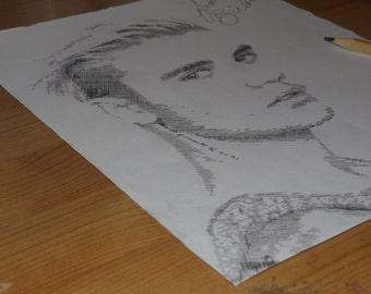 Justin Bieber hand drawn crosshatched framed picture