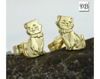 Cat Friends Earrings, Beautifully Designed Studs, Matte-Finished in 8K Gold