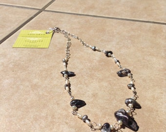 Pearls and Shells and Plated silver necklace