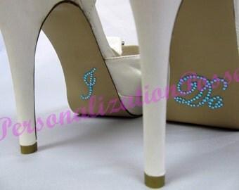 I Do Shoe Stickers - Aqua Rhinestones