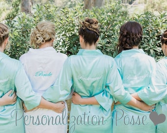 Embroidered Bridal Party Satin Robe, Bridesmaids Robes,  Bride Robe w/ Initial, Satin Kimono Bridal Robes, Wedding Bath Robes in all Sizes