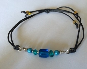Faux leather beaded adjustable bracelet