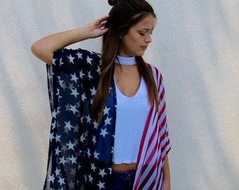 Stars & Stripes Patriotic Kimono