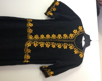 Asian Black Dress With Yellow Embroided FLowers