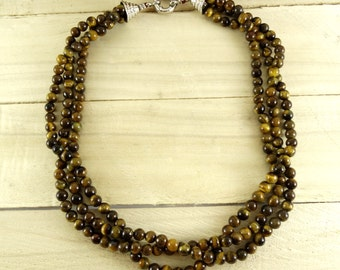 womens gift womens necklace tiger eye necklace for her talisman necklace protection necklace birthday gift womens jewelry beaded necklace