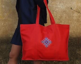 Red genuine leather tote bag/ large bag/ leather handbag for women