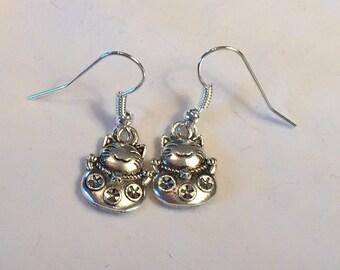 Earrings-Good Luck Cat (Silver)