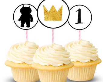 Where The Wild Things Are Printable Cupcake Toppers. 2.5 inches. 3 Designs. Customizable With Your Child's Age!