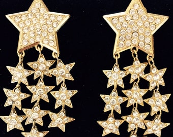 Gold tone Star Shaped Earrings with Pave Rhinestones