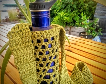 Crochet Water Bottle Holder - Green/Blue/Black