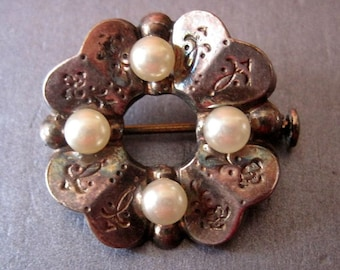 old PIN in silver and beads 1950.1960 vintage.made in france