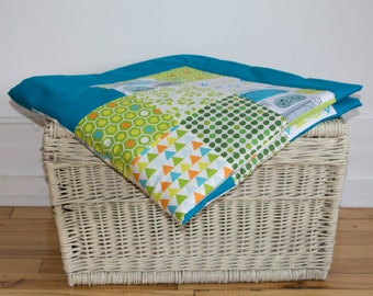 Large baby blanket, Patchwork blanket, Play mat, Nursery decor, blue cyan, green, apples, birds, animals, cars, triangle, dots, leaves
