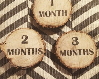 Baby months, milestones, log slices