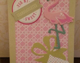 3D Handmade For My Sweet Granddaughter Flamingo Card