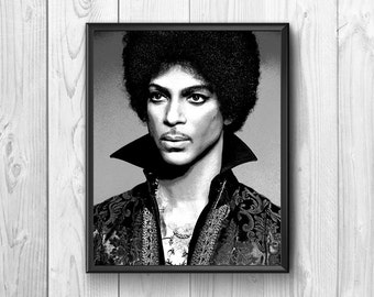 Portrait of Prince in black and white made in pencil
