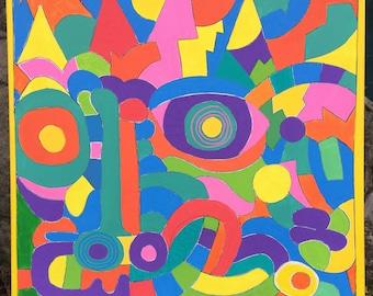 Big Face. Original artwork. Acrylic painting on paper.
