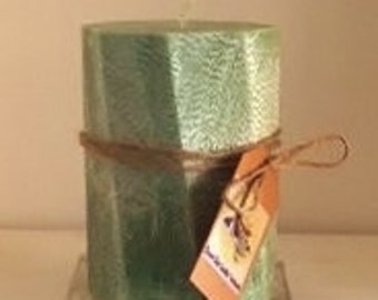 "5"" x 9"" Octagon Palm Wax Pillar Candle"
