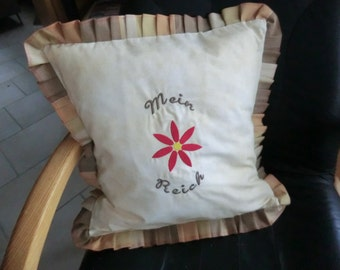 Embroidered Cushion cover with ruffle in the country house style of beige cotton fabric with hotel lock