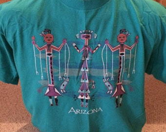 Arizona blueish green indians picture power-T made USA size xl
