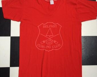 Vintage 80s Belfast Curling Club Red VNeck Sportswear 50/50 Tshirt